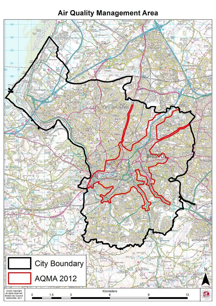 Map of Bristol Air Quality Management Area