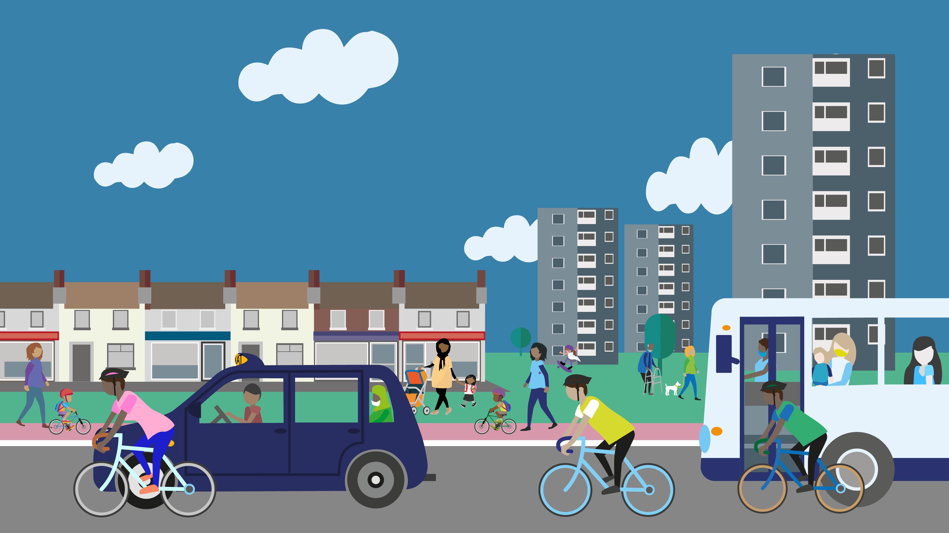 Street scene illustration showing people and public transport