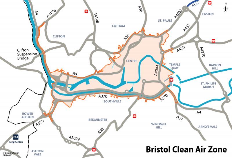 Simple plan of Bristol's Clean Air Zone