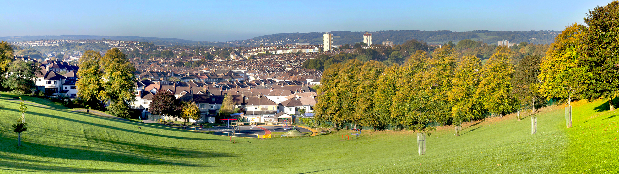 View of park and Windmill Hill skyline